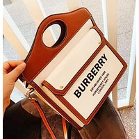 Burberry Fashion New Letter Print Leather Contrast Color Shopping Leisure High Quality Shoulder Bag Women