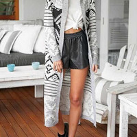 Gray Geometric Print Knitted Long Cardigan