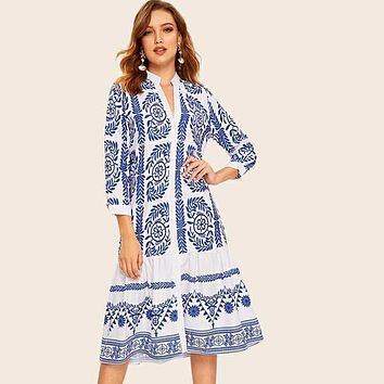 Leaf And Tribal Button Up Ruffle Hem Shirt Smock Dress
