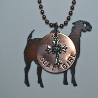 Rustic Rusty Rusted Recycled Metal FFA Goat, Heifer, Lamb, Pig, Steer, Show Girl Necklace