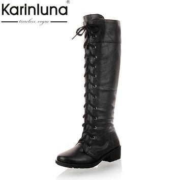 KARINLUNA Large Size 34-43 British Style Boots Square Heels Autumn Winter Shoes Women Add Fur Fashion Lace Up Riding Boots Woman