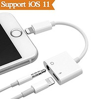 2 in1 Lightning Audio +Charger Adapter for iPhone X 8/7/6/Plus Converter to 3.5mm Headset Earphone.Headphone Audio Splitter and Charging Adaptor(Support Audio + Charge +Compatible iOS 10.3/11or Later)