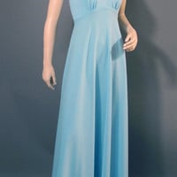 Vintage 70s Dress Baby Blue Cut Out Cage Bodice Prom Party Dress S