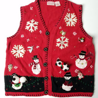 Ugly Christmas Sweater, Holiday Party, Ugly Christmas Cardigan Sweater, Grandma Sweater, 90s Holiday