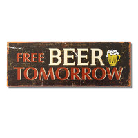 """Decorative Wood Wall Hanging Sign Plaque """"Free Beer Tomorrow"""" Brown Red Home Decor"""