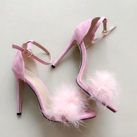 High-Heeled Fur Stiletto Sandals