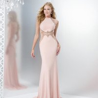 COLORS 1420 Cap Sleeve Faux Two Piece Jersey Prom Dress Evening Gown