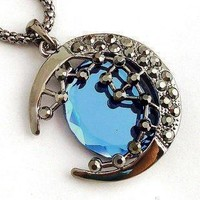 Halfmoon Curved Rhinestone Blue Moon & Star Ladies Chain Necklace Pendant