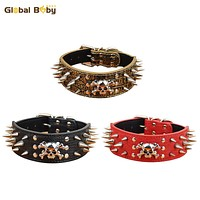 Strong Leather 2inch Width Studded Spikes Large Pet Dog Big Collar with Skull SM and Matched Leashes Lead