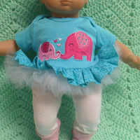 """AMERICAN GIRL Bitty Baby Clothes """"Elephant Love"""" (15 inch) doll outfit dress pants socks and headband"""