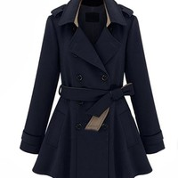 Cotton Flannel Trench Coat with Waistband