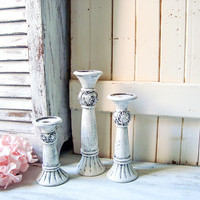 Shabby Chic Rustic White Candle Holders White Taper Candle Holders Farmhouse Candlesticks Wedding Decor Antique White Candle Holders