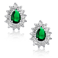 Green Teardrop and Clear Round Cubic Zirconia Stud Earrings
