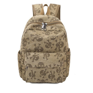 Women bag Skull Trendy Washing Canvas Printing Backpack Youth Teenager School Sport Backpacks Mochila High Quality NEW XA196YL