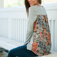 Botanical Garden Top, Gray