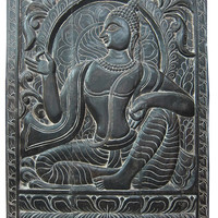 """Buddha Antique Decorative Hand Carved Wood Wall Hanging Panel India 36"""" X 48"""""""
