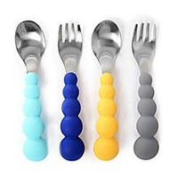 chewbeads® 4-Piece Silicone and Stainless Steel Flatware Set