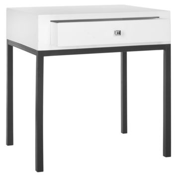 Adena End Table With Storage Drawer White