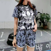 """Adidas"" Fashion Casual Clover Letter Print Short Sleeve Sweater Set Two-Piece Sportswear"