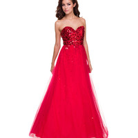 2014 Prom Dresses - Red Sequin & Tulle Strapless Prom Dress