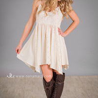 In The Breeze Crochet Tunic Top (Ivory)