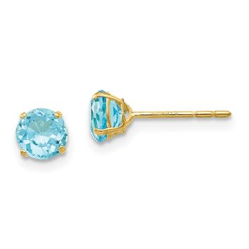 14k Yellow Gold Madi K 5mm Round Genuine Blue Topaz Post Earrings