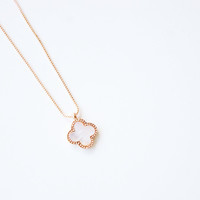 18K Rose Gold plated clover pendant necklace