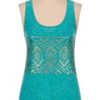 Metallic Caviar Bead Scoop Neck Tank - Blue