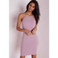 Ribbed 90's Neck Bodycon Dress Mauve - Dresses - Bodycon Dresses - Missguided