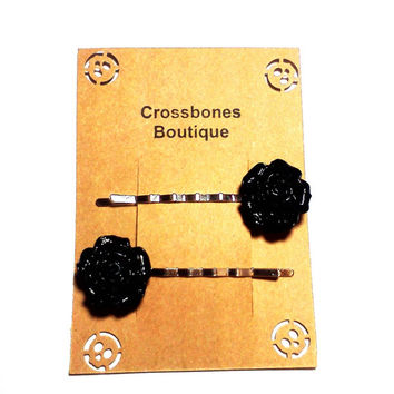 Black Rose Bobby Pins Cabochon Flower Hair Pins Party Bachelorette Accessories