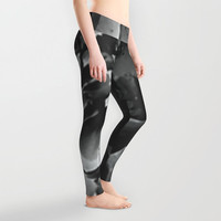 Grey leggings Lady's leggings Active wear Casual wear Stretchable leggings Abstract pattern of black and grey Sober grey