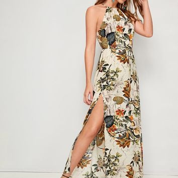 Tropical Print Split Thigh Belted Halter Dress