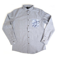 Quiet Life: Crystal Oxford Pocket Long Sleeve Button Down Shirt - Grey