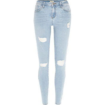 River Island Womens Light wash ripped Amelie superskinny jeans