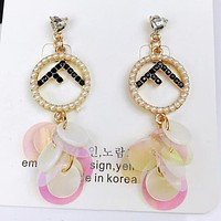 FENDI New Popular Women Creative F Letter Pearl Earring Sequin Tassel Earrings I12855-1