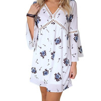 new fashion   women elegant Dress Flare Long Sleeve Floral Print Women Chiffon V Neck Loose Mini Dress #63 GS