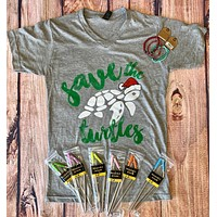Save the turtles grey v-neck t-shirt