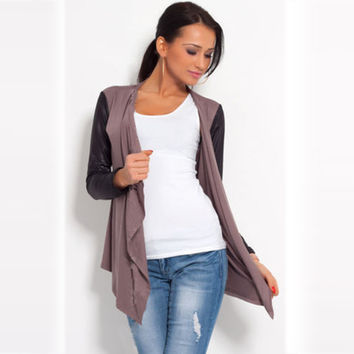 European Cardigan Casual Knitted Long Sleeve Patchwork Sweater