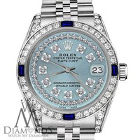 Rolex 31mm Datejust Ice Blue String Dial with Sapphire & Diamond Bezel Watch
