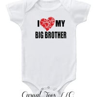 I Love My Big Brother  Onesuit Bodysuit  for the Baby