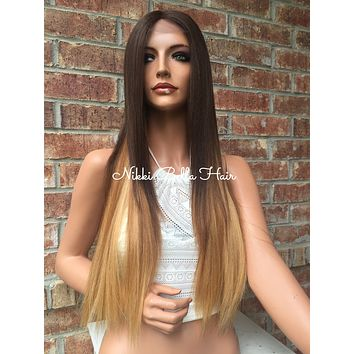 Brown Blonde Ombre Multi Parting Human Hair Blend Lace Front Wig 26 inches