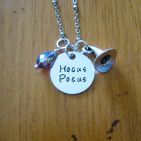 Disney's Hocus Pocus Inspired Halloween Necklace. Witch Hat. Swarovski Crystal. Silver colored. Hand Stamped. Free shipping
