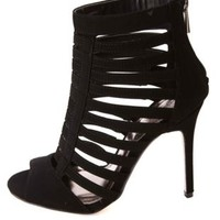 Anne Michelle Super Strappy Caged Peep Toe Heels - Black