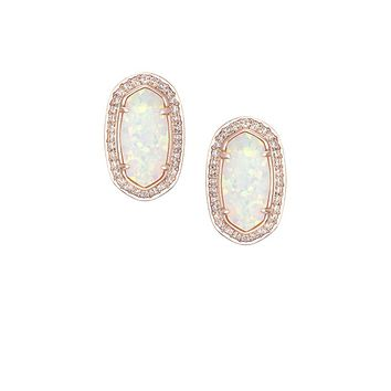 Elaine Stud Earrings in White Kyocera Opal - Kendra Scott Jewelry