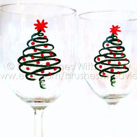 Christmas Wine Glasses hand painted  In stock ready to ship