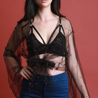 Silver Beaded Tulle Self-Tie Cover-Up Top | UrbanOG
