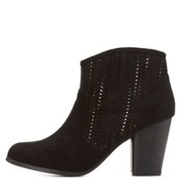 Qupid Perforated Booties by Charlotte Russe