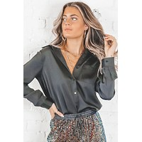 On My Mind Black Satin Button Down Blouse