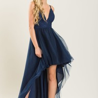 Mia Navy High Low Tulle Dress