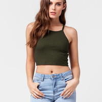 BOZZOLO Cropped High Neck Womens Tank | Essentials